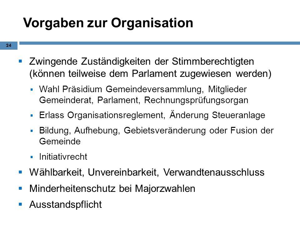Vorgaben zur Organisation