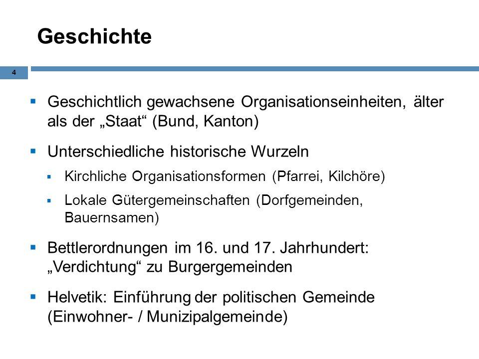 """Geschichte Geschichtlich gewachsene Organisationseinheiten, älter als der """"Staat (Bund, Kanton) Unterschiedliche historische Wurzeln."""