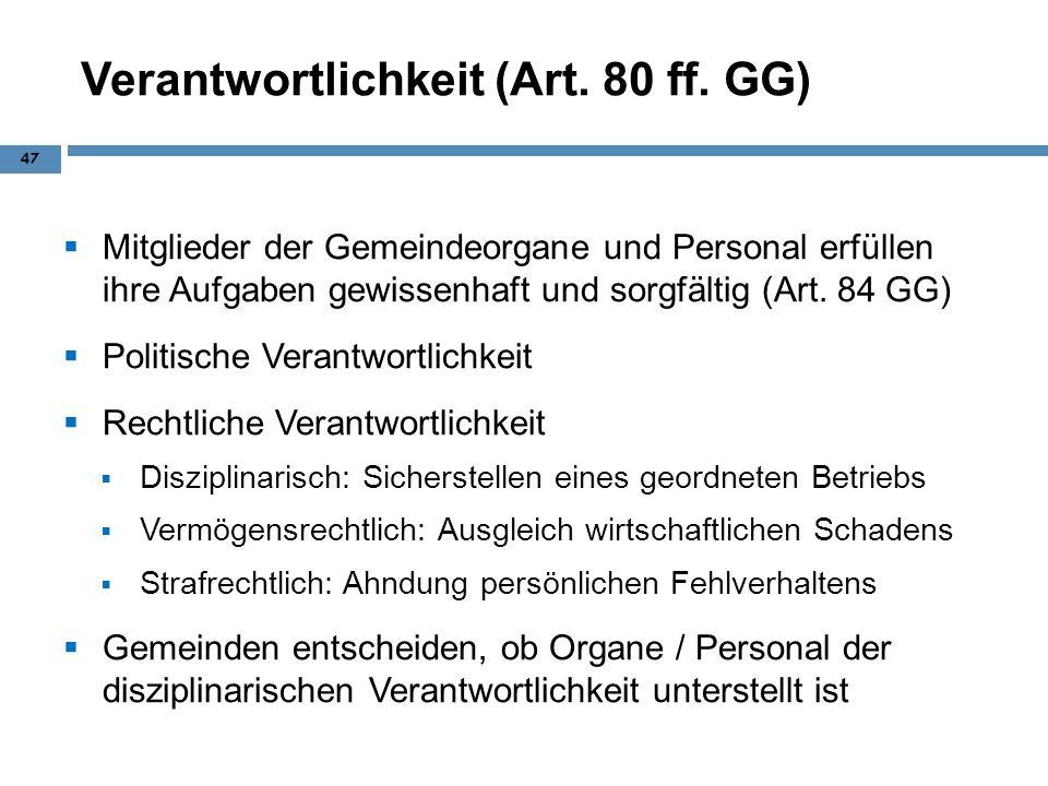 Verantwortlichkeit (Art. 80 ff. GG)