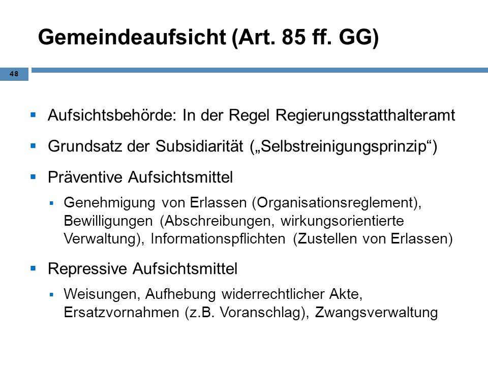 Gemeindeaufsicht (Art. 85 ff. GG)
