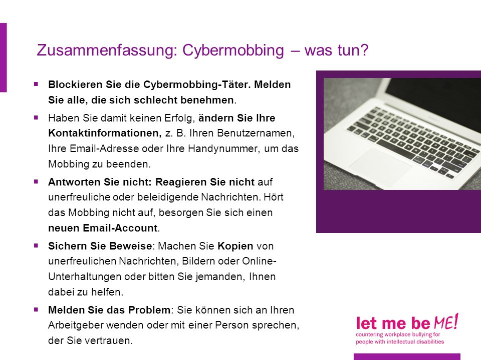Zusammenfassung: Cybermobbing – was tun