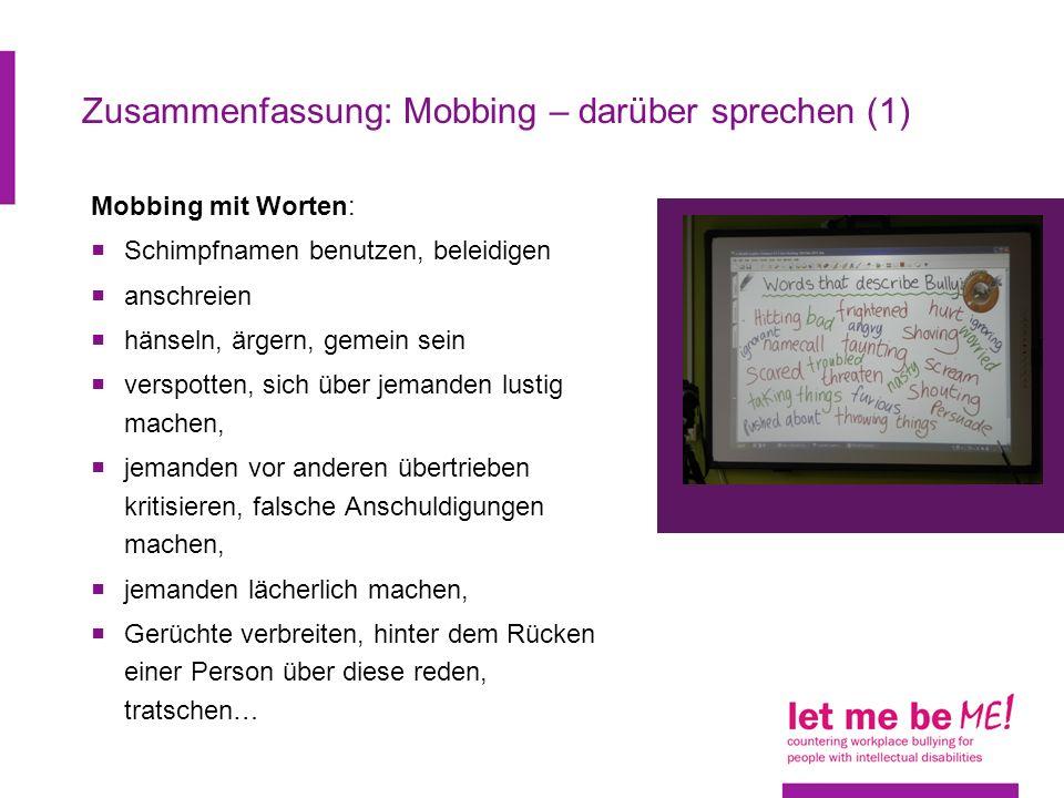 Zusammenfassung: Mobbing – darüber sprechen (1)