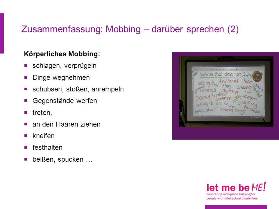 Zusammenfassung: Mobbing – darüber sprechen (2)