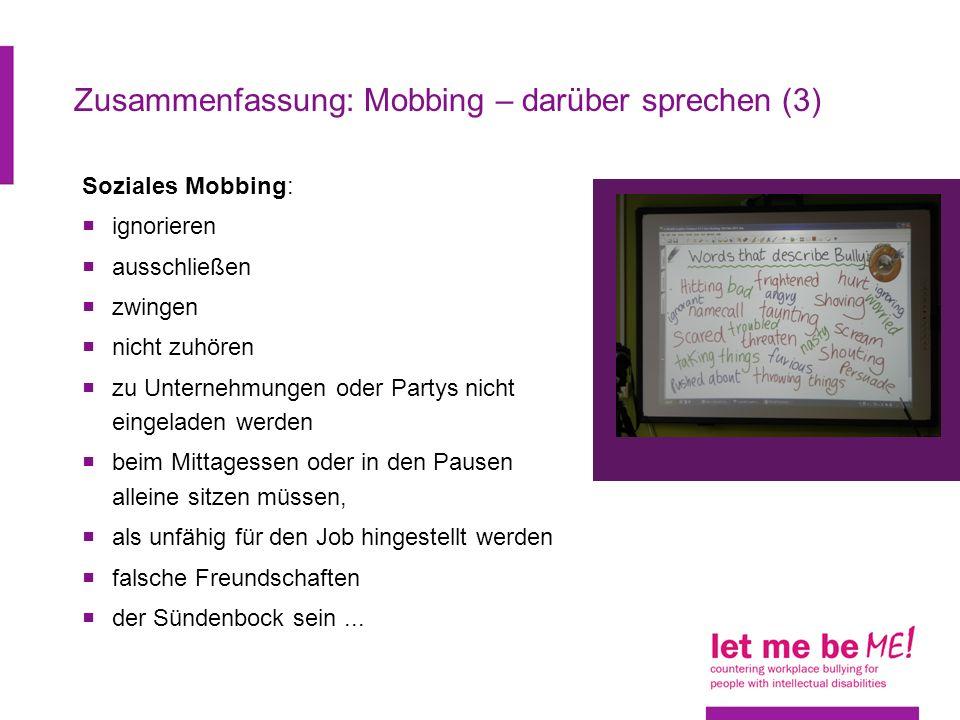 Zusammenfassung: Mobbing – darüber sprechen (3)