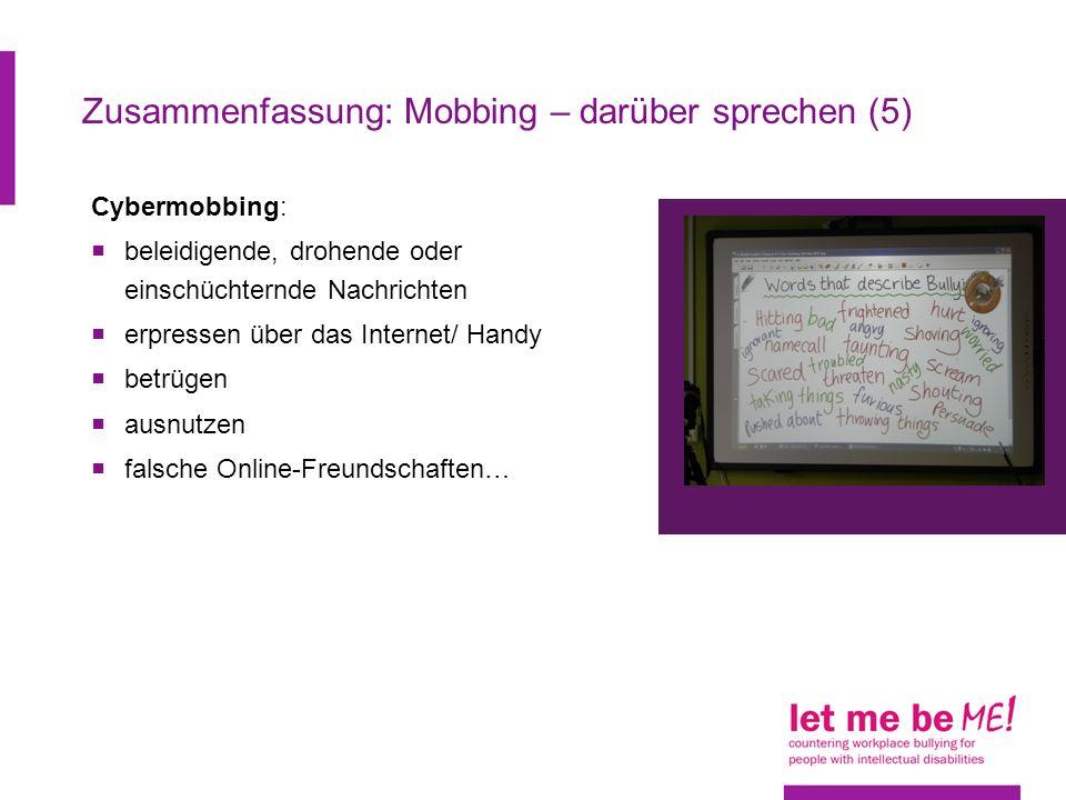 Zusammenfassung: Mobbing – darüber sprechen (5)