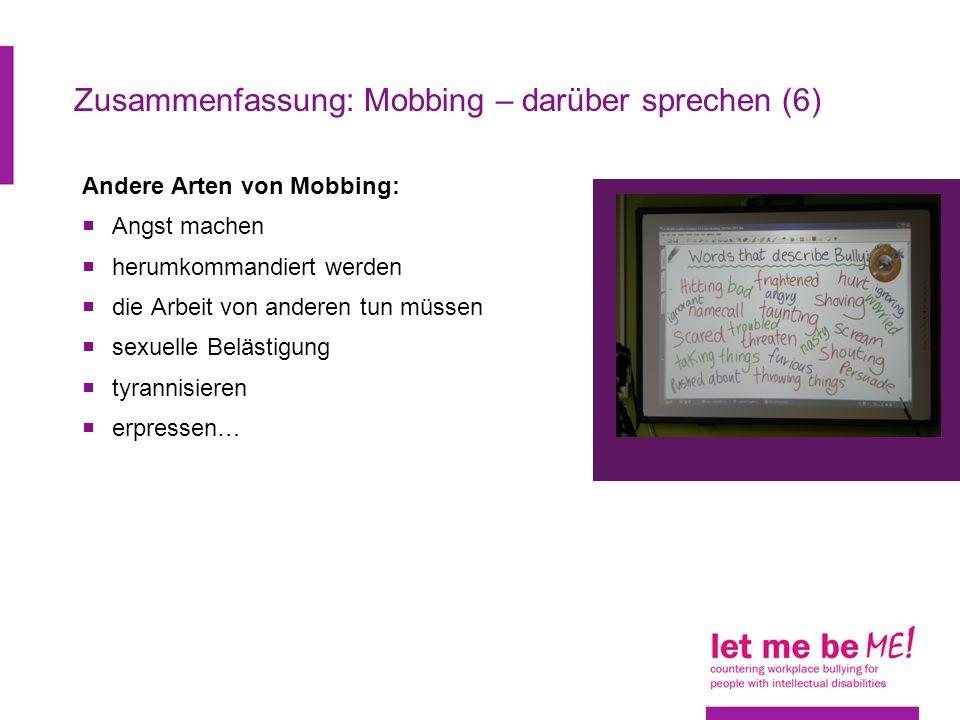 Zusammenfassung: Mobbing – darüber sprechen (6)