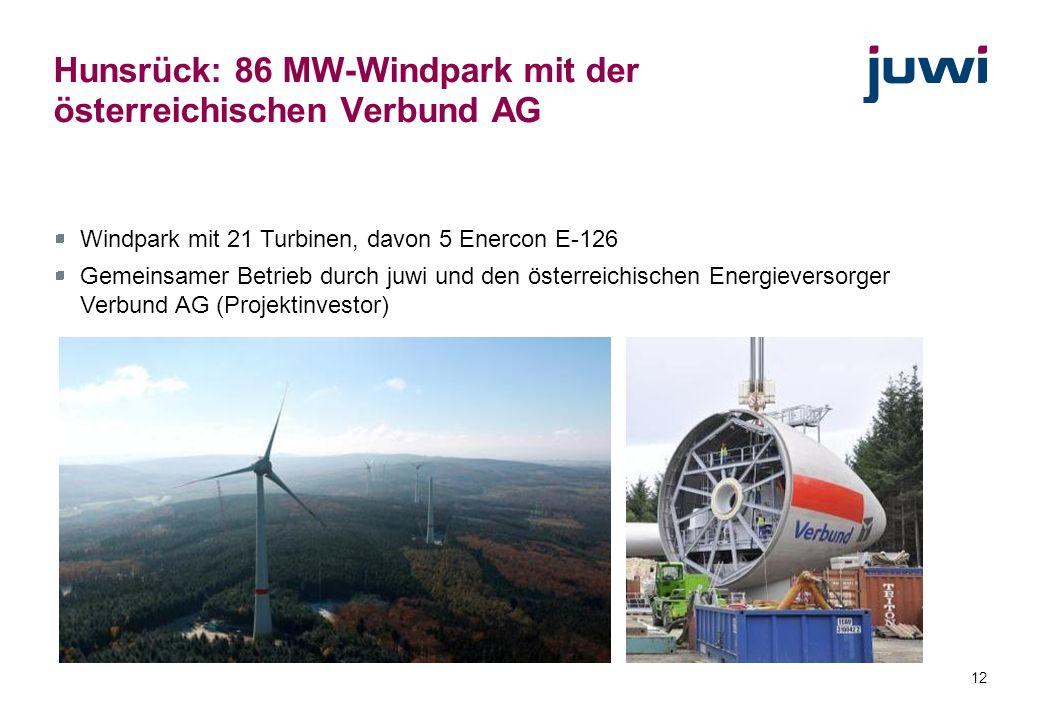 Hunsrück: 86 MW-Windpark mit der österreichischen Verbund AG