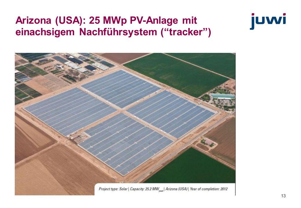 Arizona (USA): 25 MWp PV-Anlage mit einachsigem Nachführsystem ( tracker )