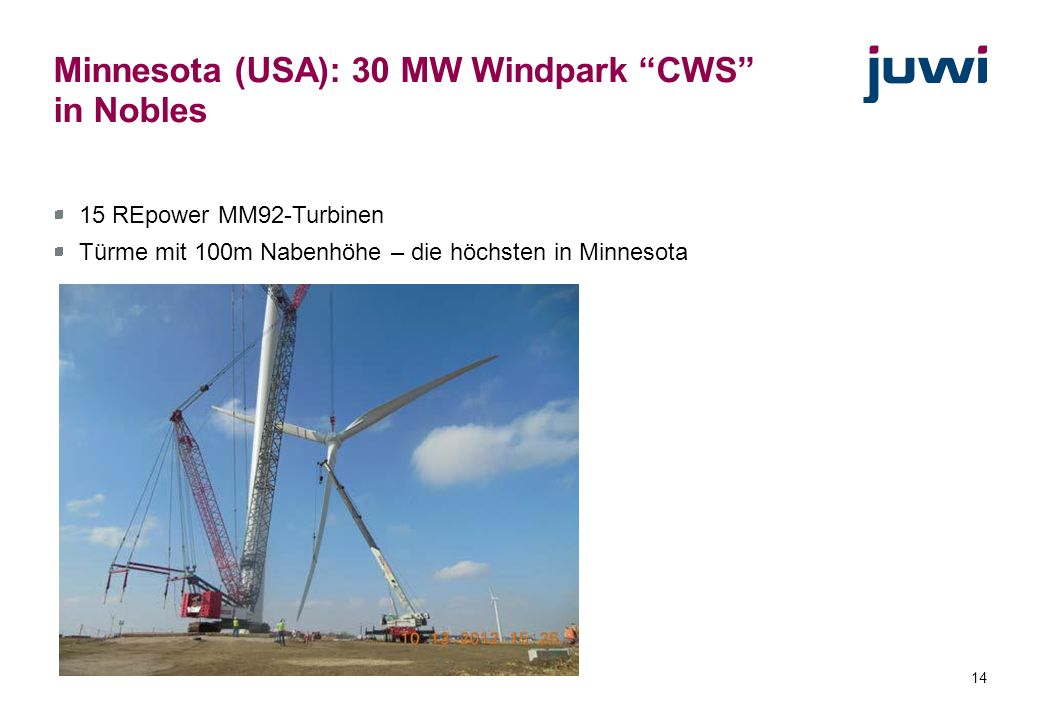 Minnesota (USA): 30 MW Windpark CWS in Nobles