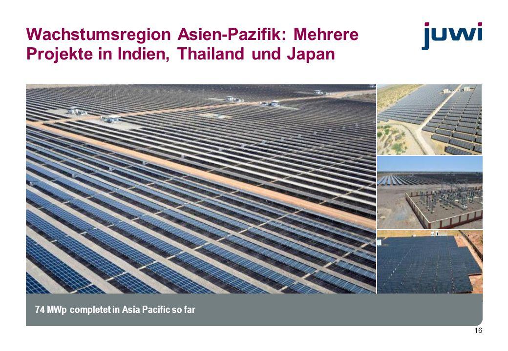 Wachstumsregion Asien-Pazifik: Mehrere Projekte in Indien, Thailand und Japan