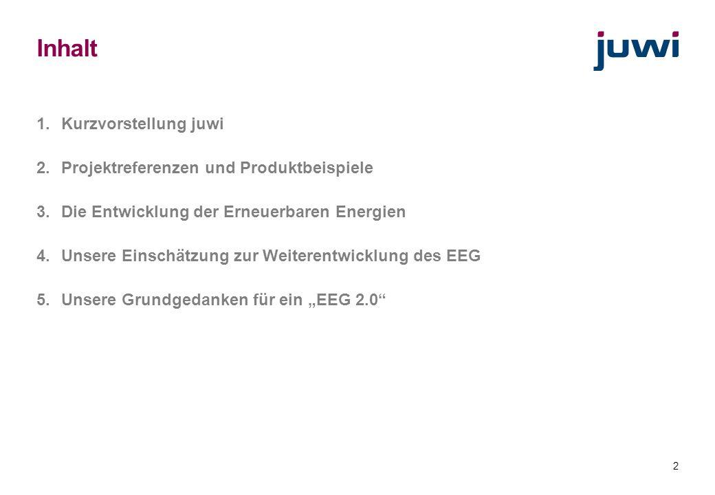Inhalt Kurzvorstellung juwi Projektreferenzen und Produktbeispiele