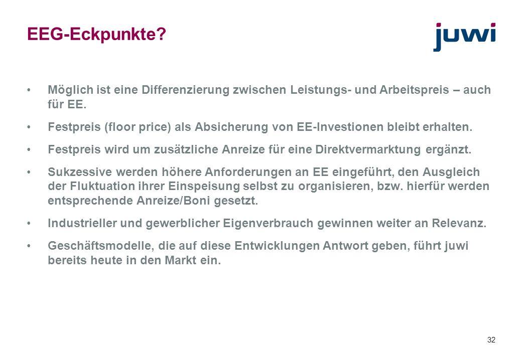 EEG-Eckpunkte Möglich ist eine Differenzierung zwischen Leistungs- und Arbeitspreis – auch für EE.