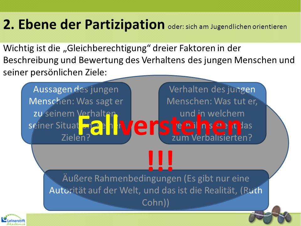 2. Ebene der Partizipation oder: sich am Jugendlichen orientieren