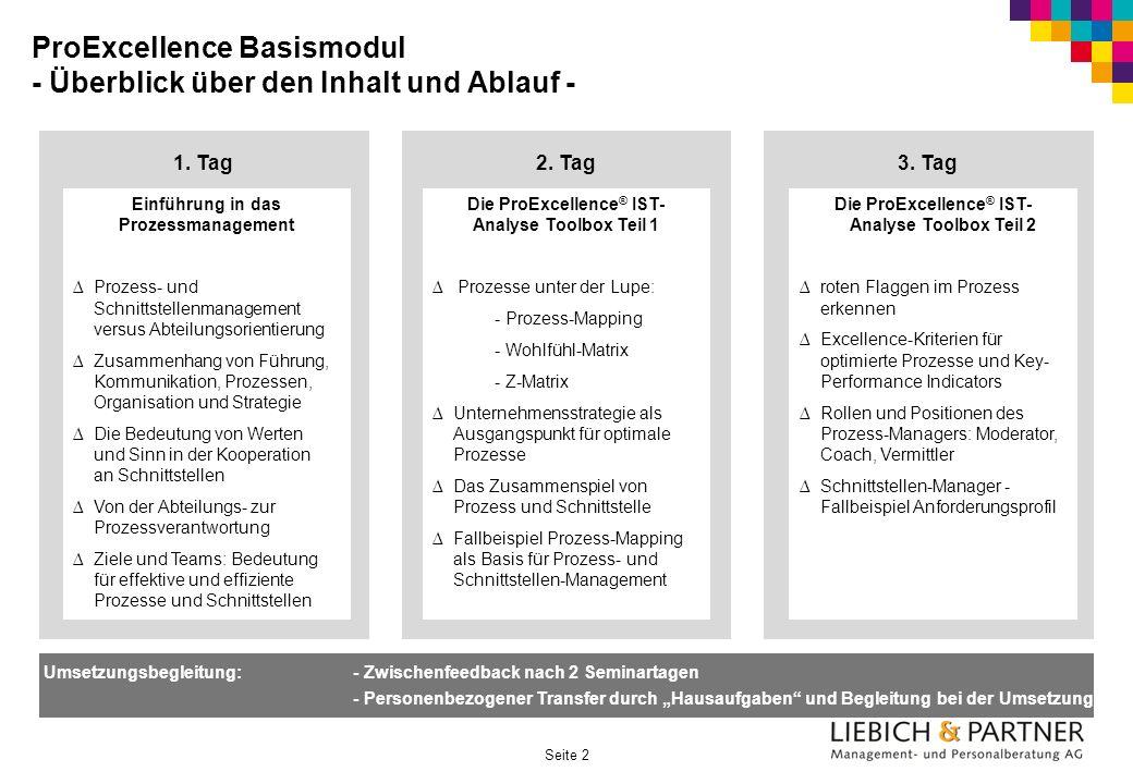 ProExcellence Basismodul - Überblick über den Inhalt und Ablauf -