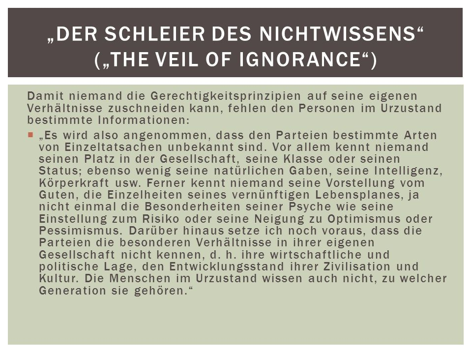 """Der Schleier des Nichtwissens (""the veil of ignorance )"