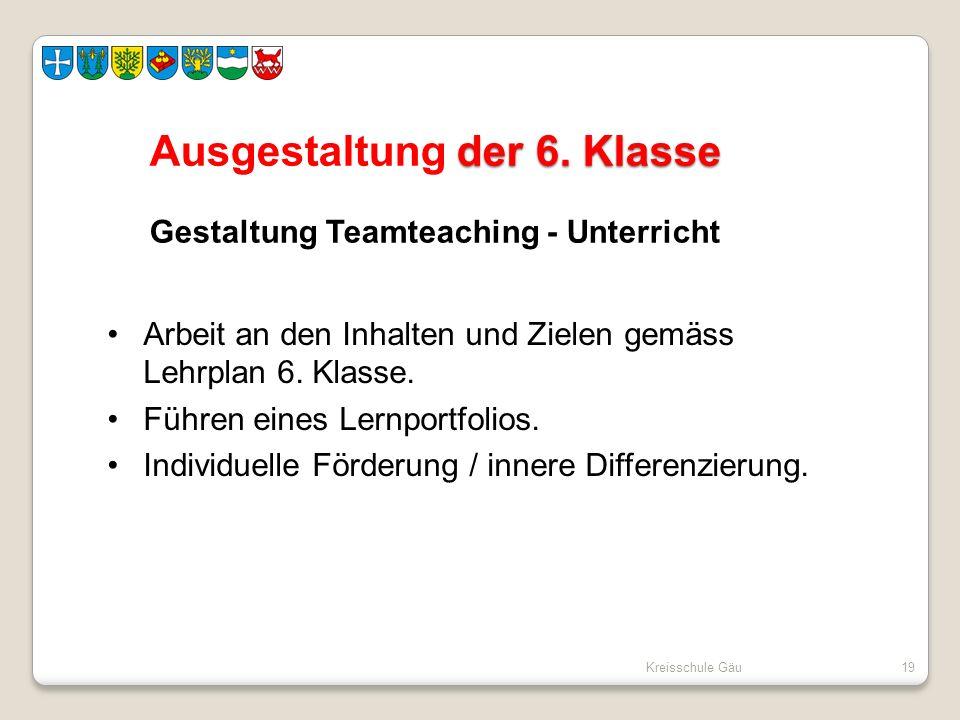 Ausgestaltung der 6. Klasse Gestaltung Teamteaching - Unterricht