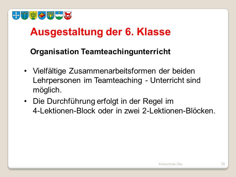 Ausgestaltung der 6. Klasse Organisation Teamteachingunterricht