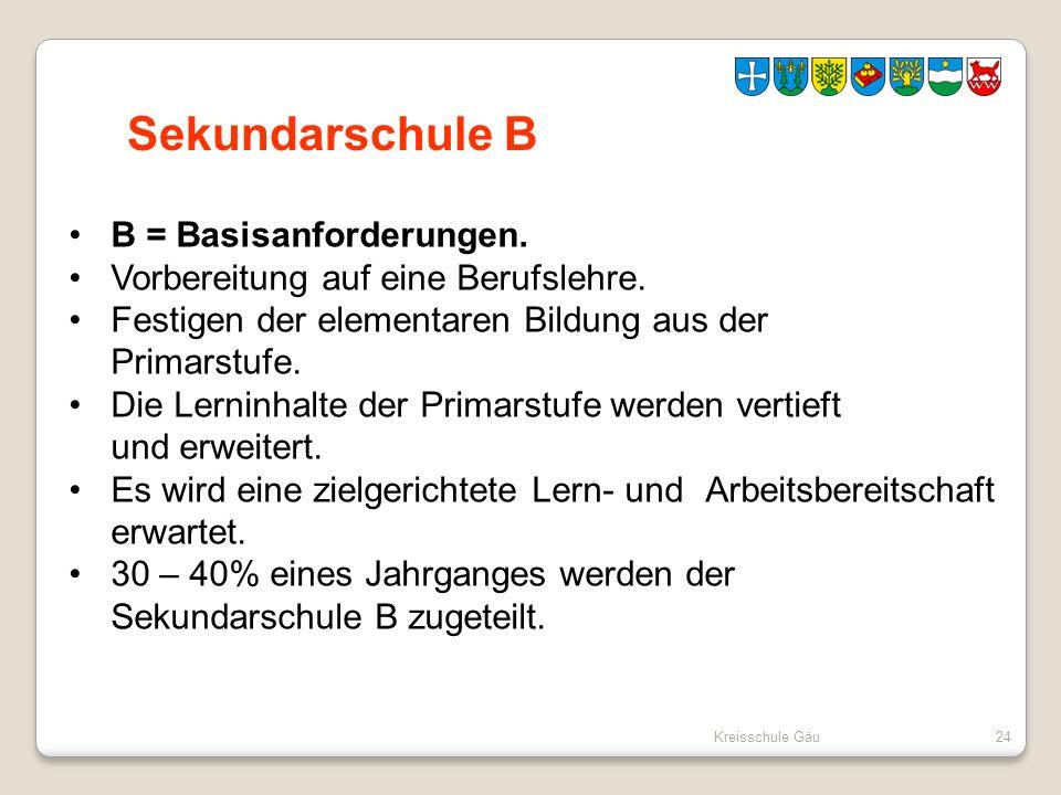 Sekundarschule B B = Basisanforderungen.