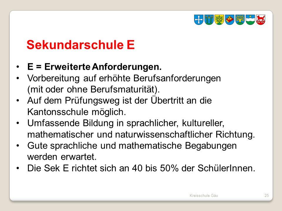 Sekundarschule E E = Erweiterte Anforderungen.