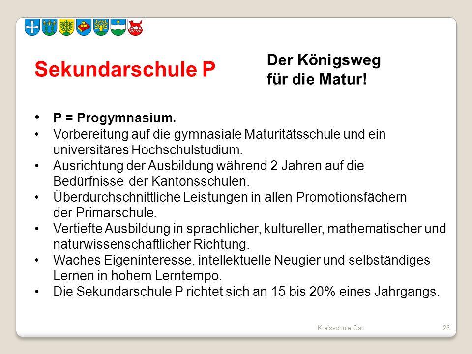 Sekundarschule P Der Königsweg für die Matur! P = Progymnasium.