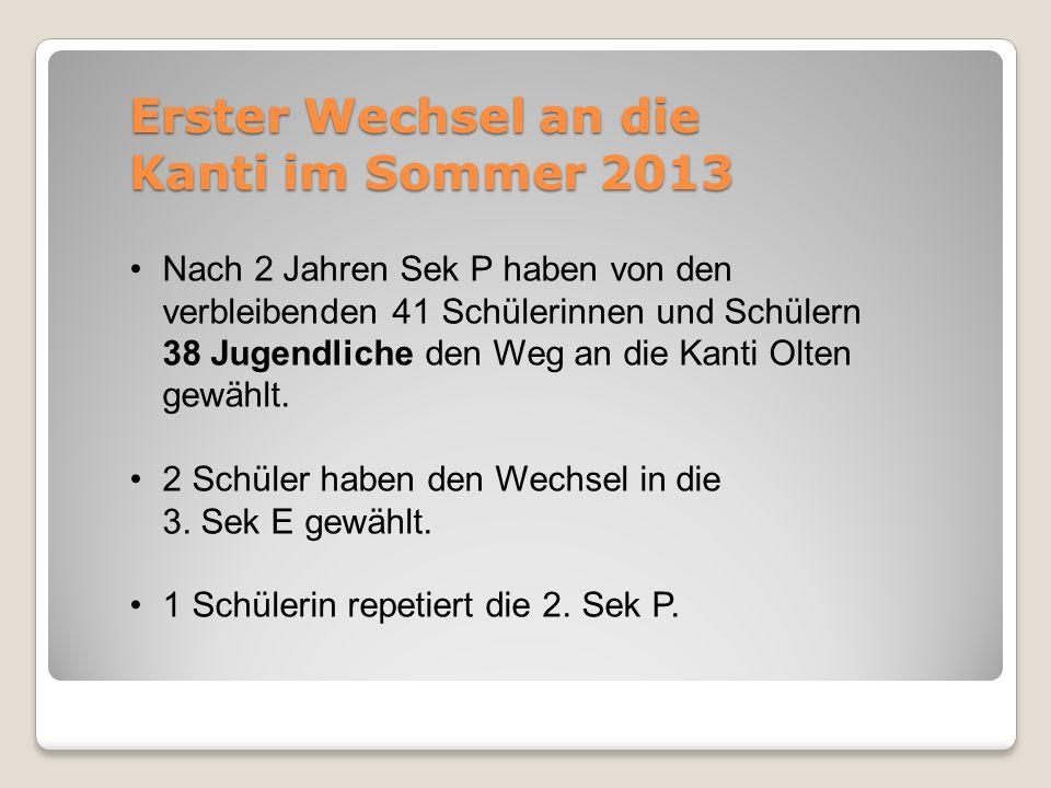 Erster Wechsel an die Kanti im Sommer 2013