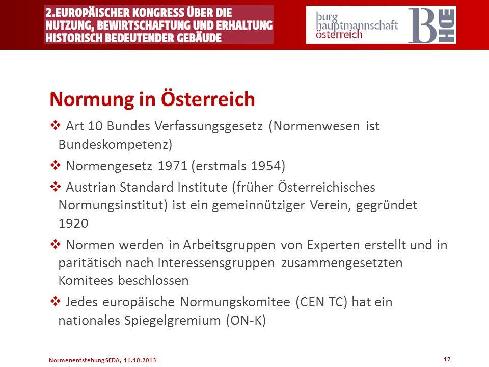 Normung in Österreich Art 10 Bundes Verfassungsgesetz (Normenwesen ist Bundeskompetenz) Normengesetz 1971 (erstmals 1954)