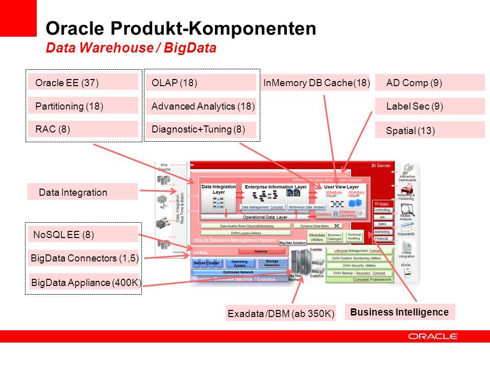 Oracle Produkt-Komponenten Data Warehouse / BigData