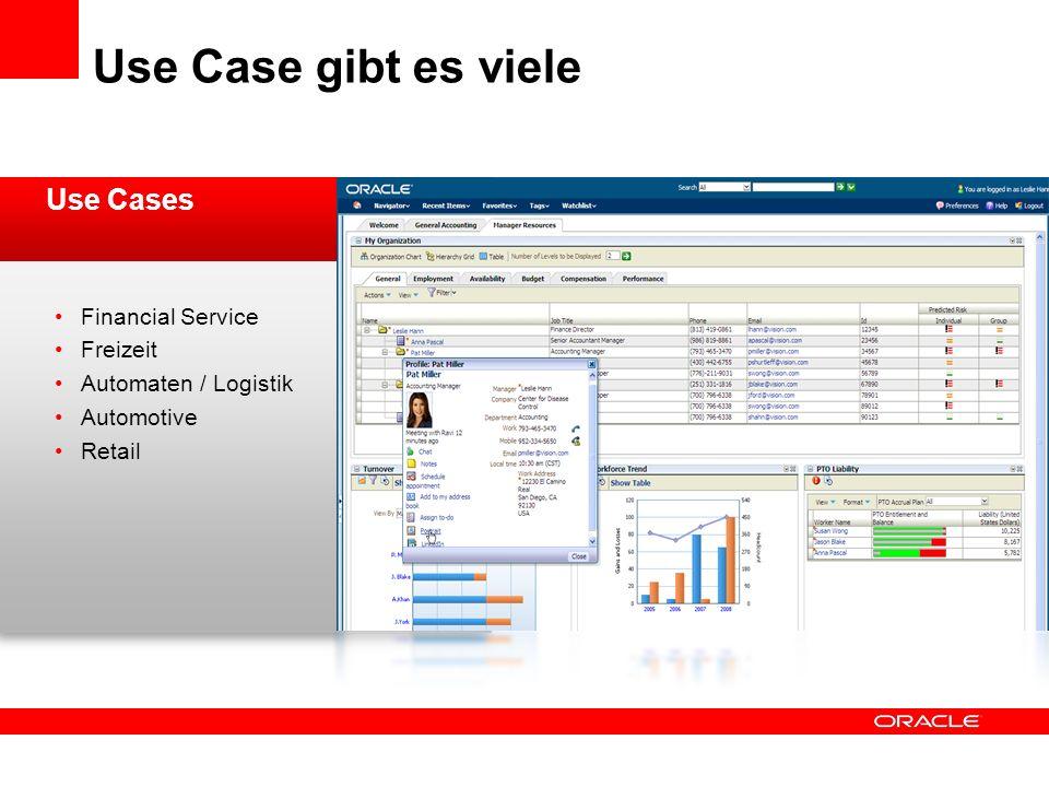 Use Case gibt es viele Use Cases Financial Service Freizeit