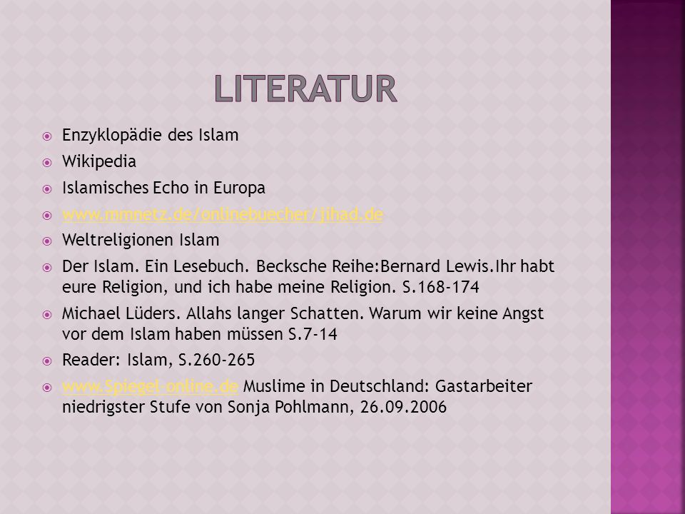 Literatur Enzyklopädie des Islam Wikipedia Islamisches Echo in Europa