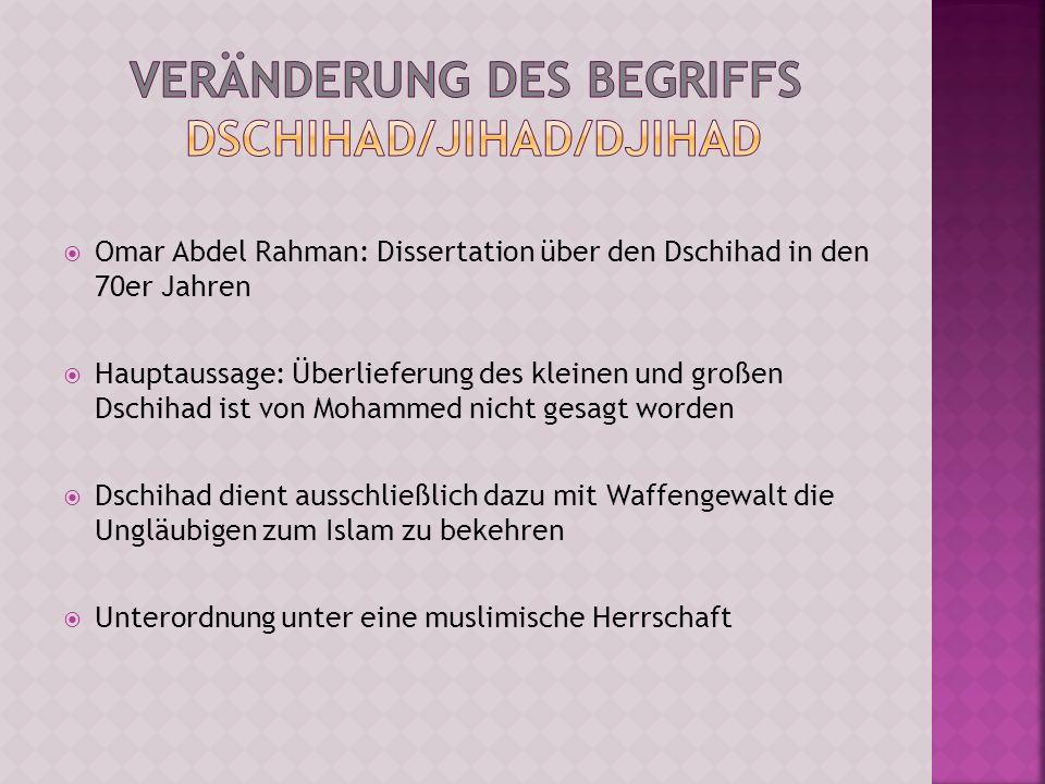 Veränderung des Begriffs Dschihad/Jihad/Djihad