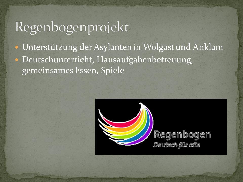 Regenbogenprojekt Unterstützung der Asylanten in Wolgast und Anklam