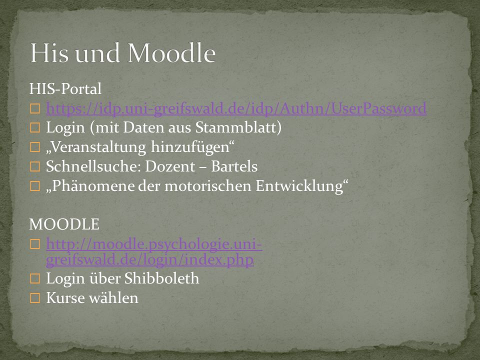 His und Moodle HIS-Portal