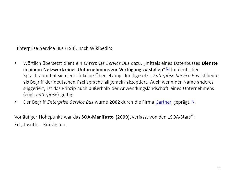 Enterprise Service Bus (ESB), nach Wikipedia: