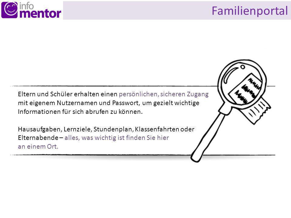 Familienportal Eltern und Schüler erhalten einen persönlichen, sicheren Zugang.