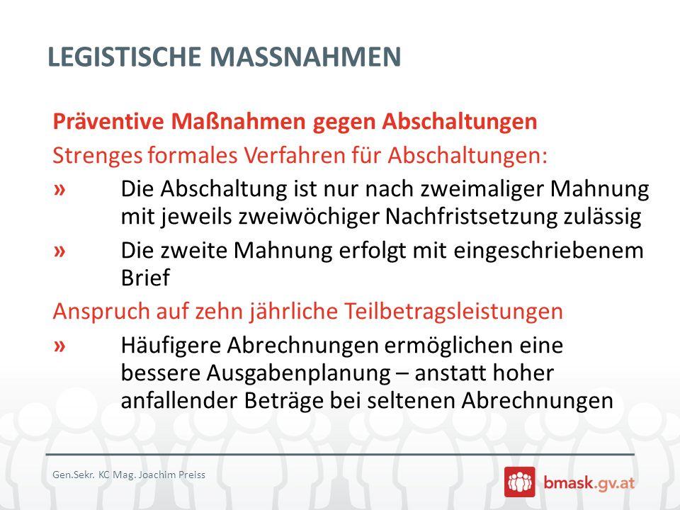 LEGISTISCHE MASSNAHMEN