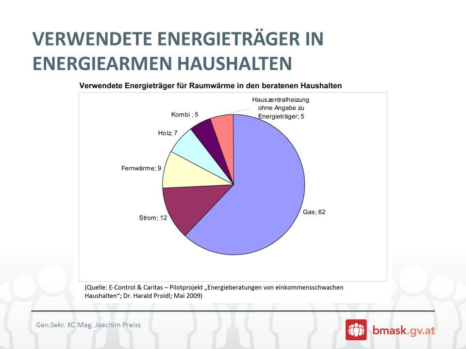 VERWENDETE ENERGIETRÄGER IN ENERGIEARMEN HAUSHALTEN
