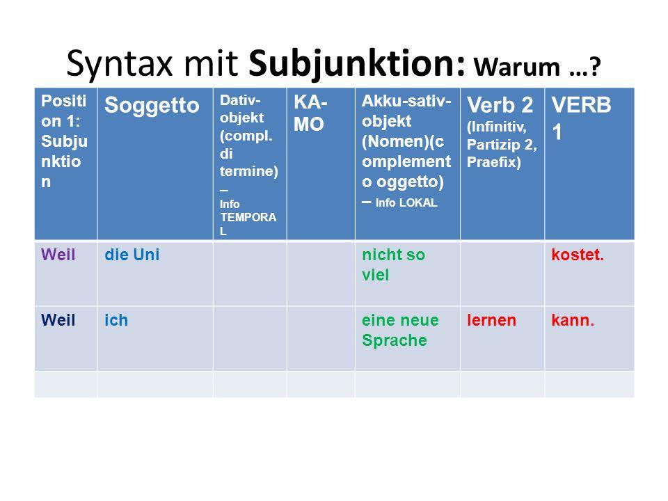 Syntax mit Subjunktion: Warum …