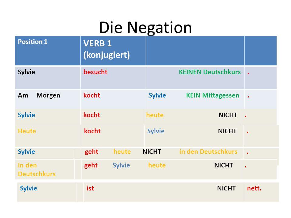 Die Negation VERB 1 (konjugiert) Position 1 Sylvie besucht