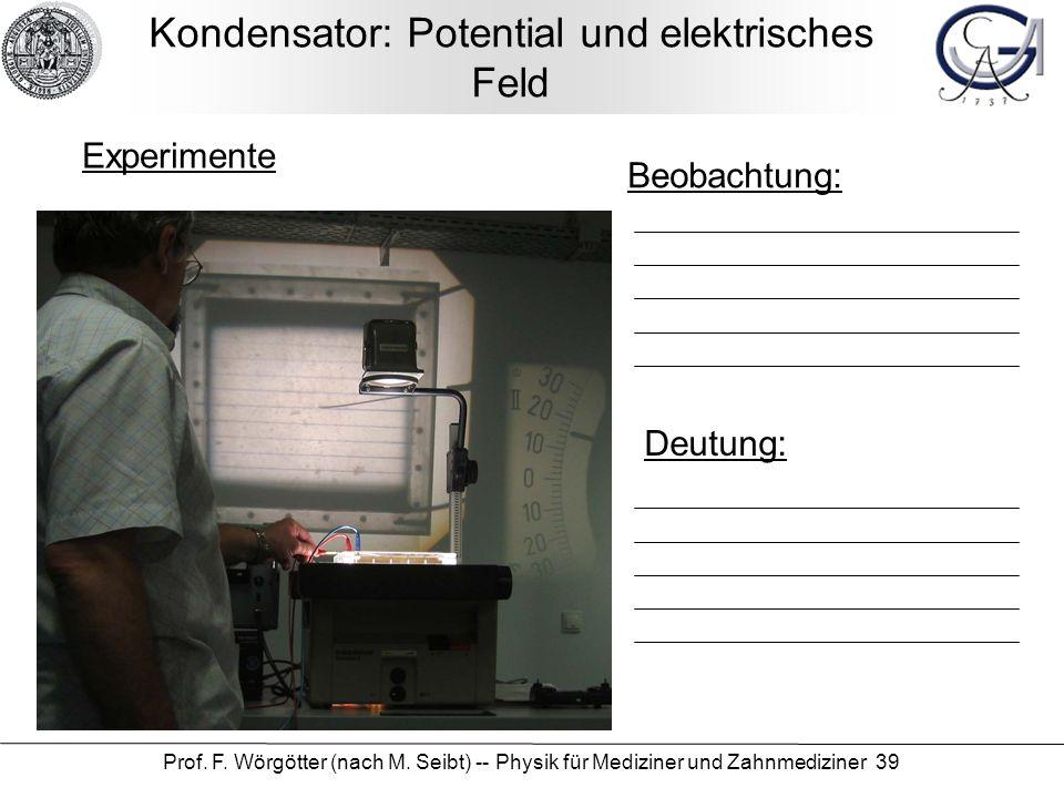 Kondensator: Potential und elektrisches Feld
