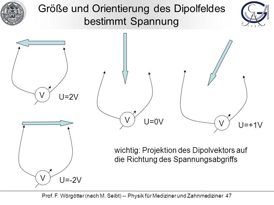 Größe und Orientierung des Dipolfeldes bestimmt Spannung