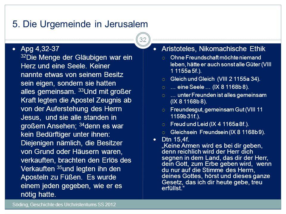 5. Die Urgemeinde in Jerusalem