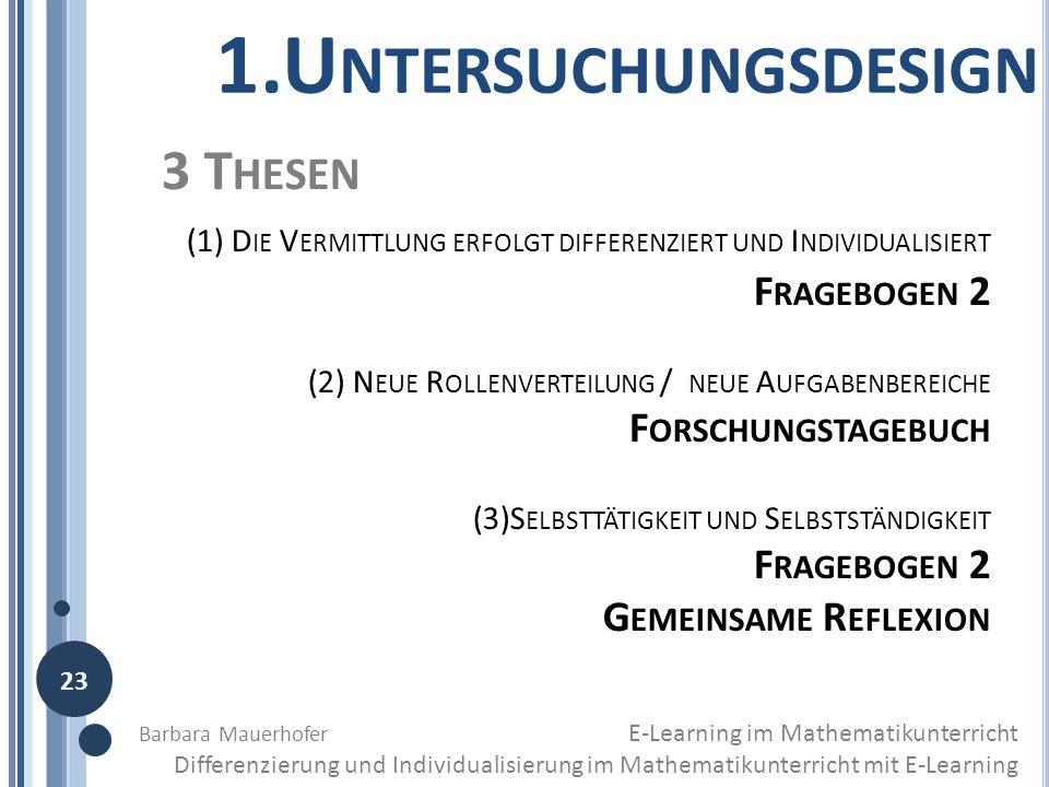 1.Untersuchungsdesign 3 Thesen Fragebogen 2 Forschungstagebuch