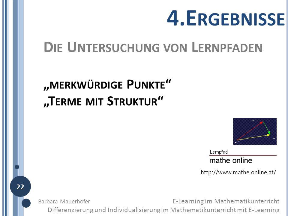 """4.Ergebnisse Die Untersuchung von Lernpfaden """"merkwürdige Punkte"""