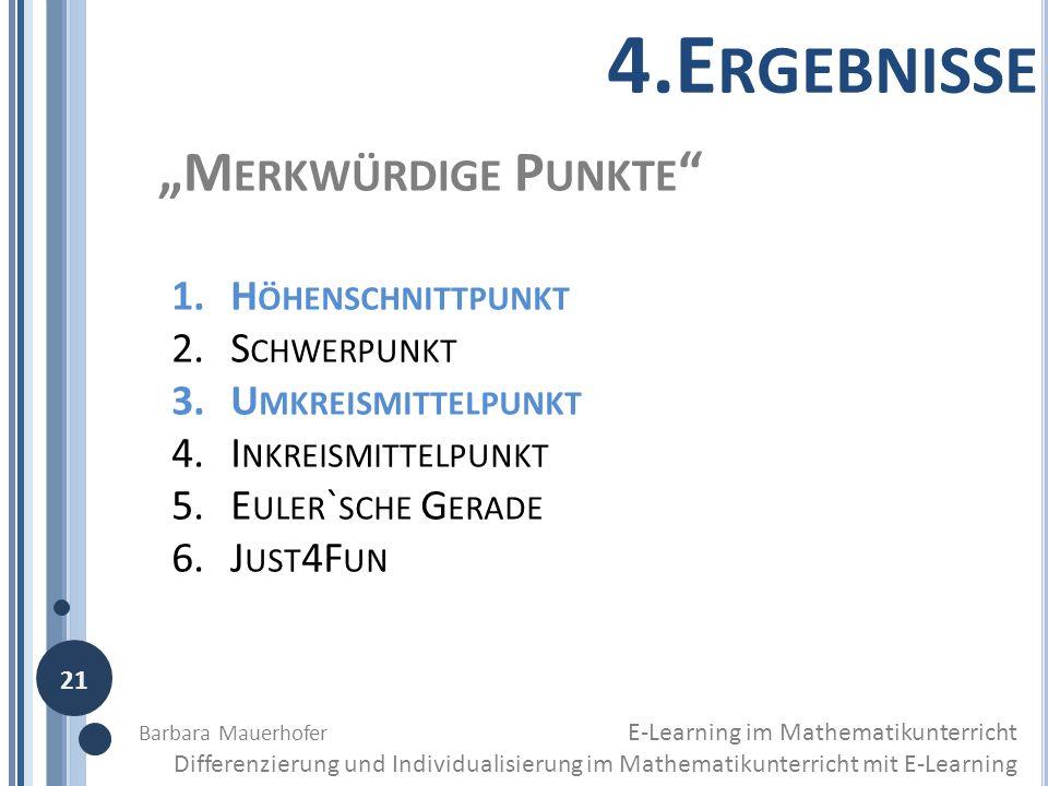 """4.Ergebnisse """"Merkwürdige Punkte Höhenschnittpunkt Schwerpunkt"""
