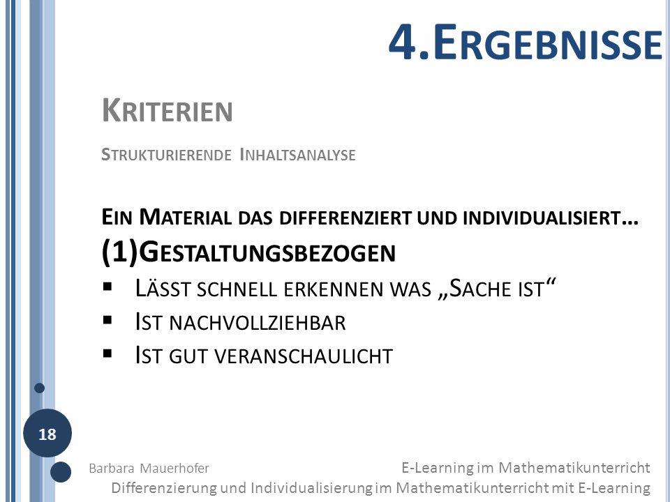 4.Ergebnisse Kriterien (1)Gestaltungsbezogen