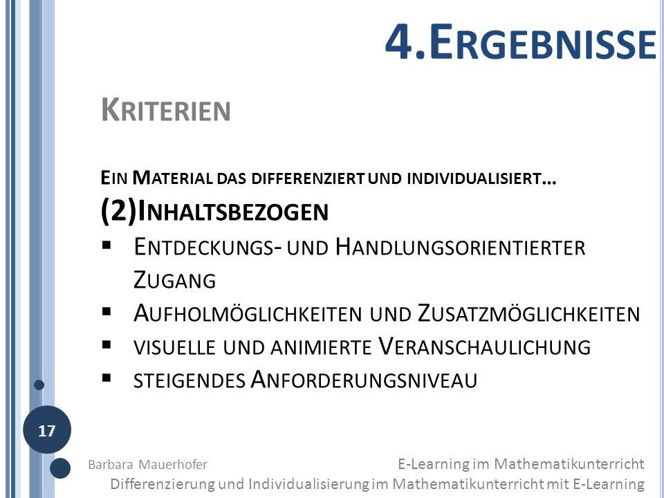 4.Ergebnisse Kriterien (2)Inhaltsbezogen