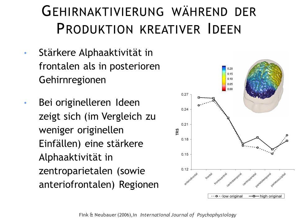 Gehirnaktivierung während der Produktion kreativer Ideen