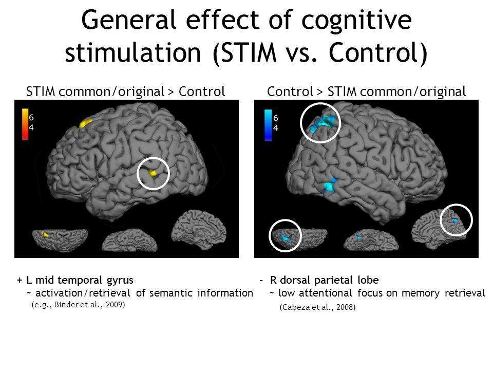 General effect of cognitive stimulation (STIM vs. Control)