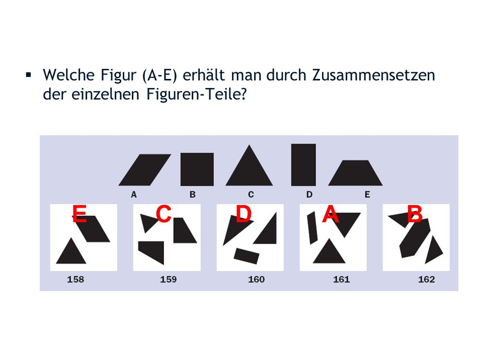 Welche Figur (A-E) erhält man durch Zusammensetzen der einzelnen Figuren-Teile