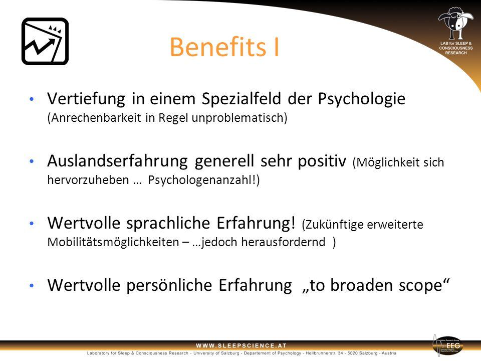 Benefits I Vertiefung in einem Spezialfeld der Psychologie (Anrechenbarkeit in Regel unproblematisch)